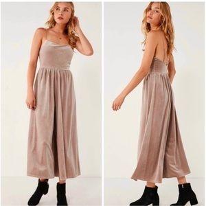 Urban Outfitters Emmabella velvet tan jumpsuit